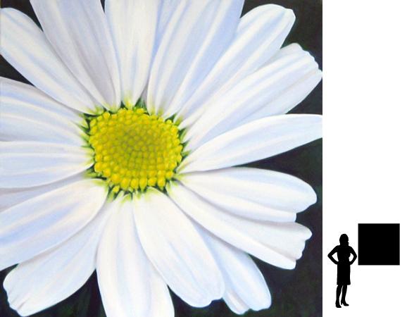 Bloem, olieverf op linnen, 100 x 100 cm., 800,- incl. lijst
