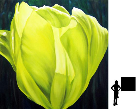 Bloem 4, olieverf op linnen, 100 x 100 cm., 800,- incl. lijst