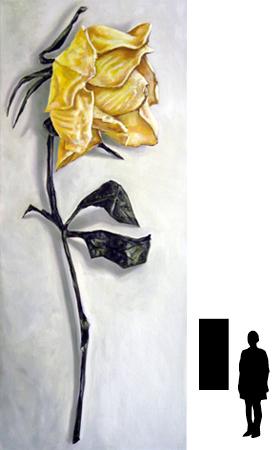Droogbloem, olieverf op linnen, 50 x 120 cm., 400,- incl. lijst