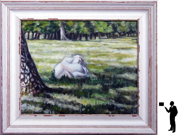 Franse koe, olieverf op linnen, 30 x 20 cm. ex lijst, 150,- incl. lijst