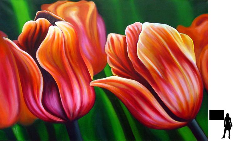 Tulpen, olieverf op linnen, 100 x 70 cm.