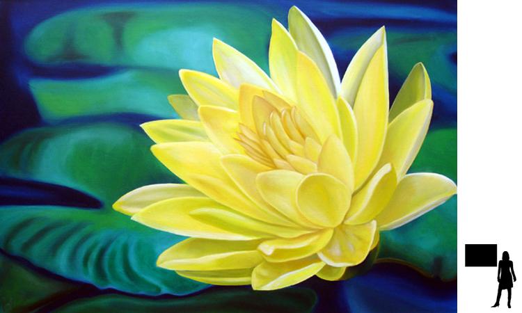 Waterlelie 2, olieverf op linnen, 100 x 70 cm., 600,- incl. lijst