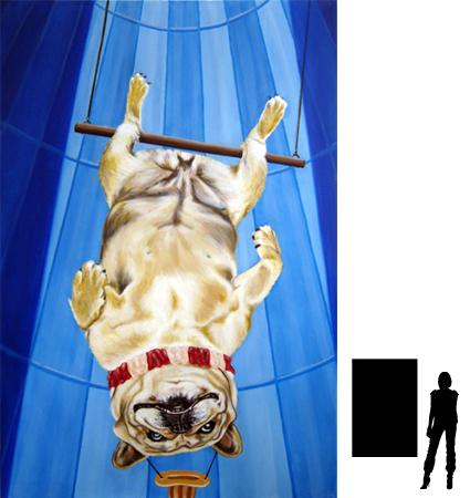 Circushondje 2, olieverf op linnen, 100 x 150 cm., 1000,-