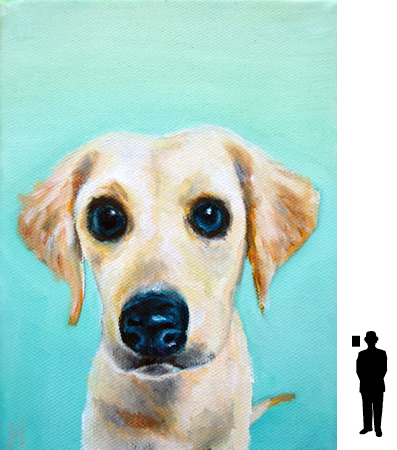 Hondje 3, olieverf op katoen, 13 x 18 cm.