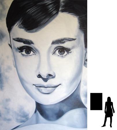 Audrey Hepburn, olieverf op linnen, 70 x 100 cm.