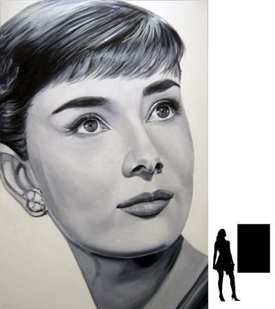 Audrey Hepburn, olieverf op linnen, 80 x 120 cm., 1000,- incl. lijst