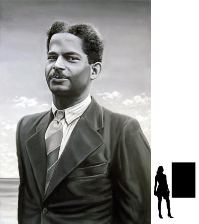 Boy Ecury, serie verzetshelden i.o.v. Comité 4-5 mei A'dam ZO, olieverf op linnen, 80 x 120 cm.