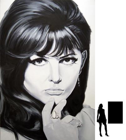 Claudia Cardinale, olieverf op linnen, 80 x 120 cm., in progress!!!