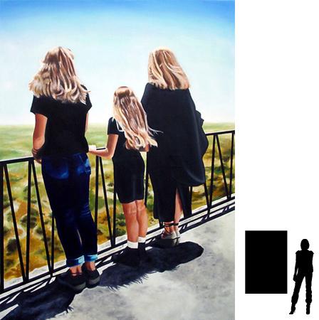 Roxanne, Doronne en Jaqueline, olieverf op linnen, 80 x 140 cm.