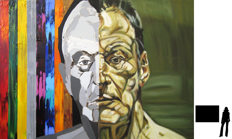 Lucian Freud, olie/acryl op katoen, 100 x 140 cm., project zelfportretten beroemde schilders i.s.m. Jack Allick, 1500,-