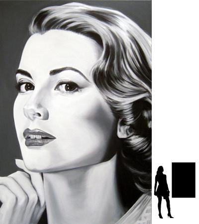 Grace Kelly, olieverf op linnen, 80 x 120 cm., 1000,- incl. lijst