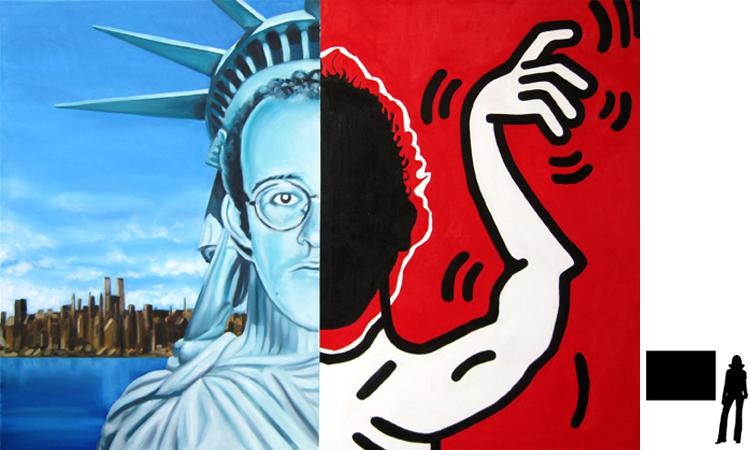 Keith Haring, olie/acryl op katoen, 100 x 140 cm., project zelfportretten beroemde schilders i.s.m. Jack Allick, 1500,-