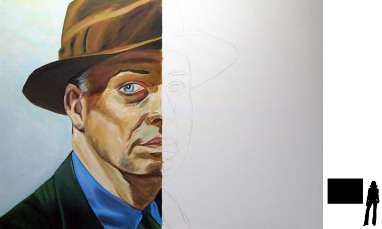 Edward Hopper, olie/acryl op katoen, 100 x 140 cm., project zelfportretten beroemde schilders i.s.m. Jack Allick, in progress!!