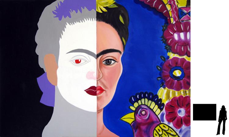 Frida Kahlo, olie/acryl op katoen, 100 x 140 cm., project zelfportretten beroemde schilders i.s.m. Jack Allick, 1500,-