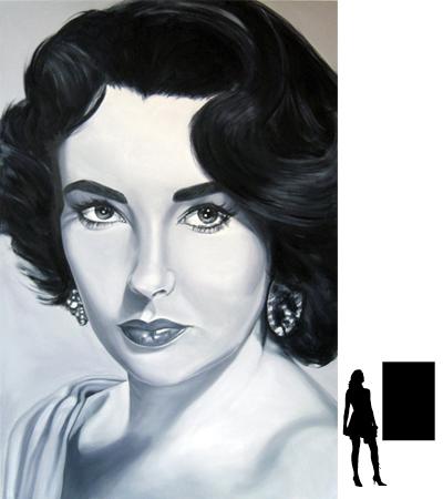 Elizabeth Taylor, olieverf op linnen, 80 x 120 cm., 1000,- incl. lijst