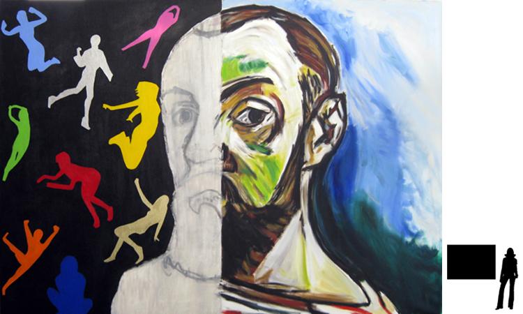 Henri Matisse, olie/acryl op katoen, 100 x 140 cm., project zelfportretten beroemde schilders i.s.m. Jack Allick, 1500,-