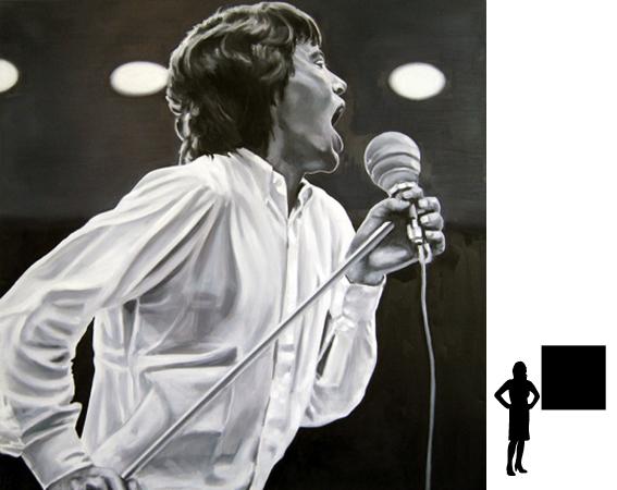 Mick Jagger, olieverf op linnen, 100 x 100 cm., 1000,- incl. lijst