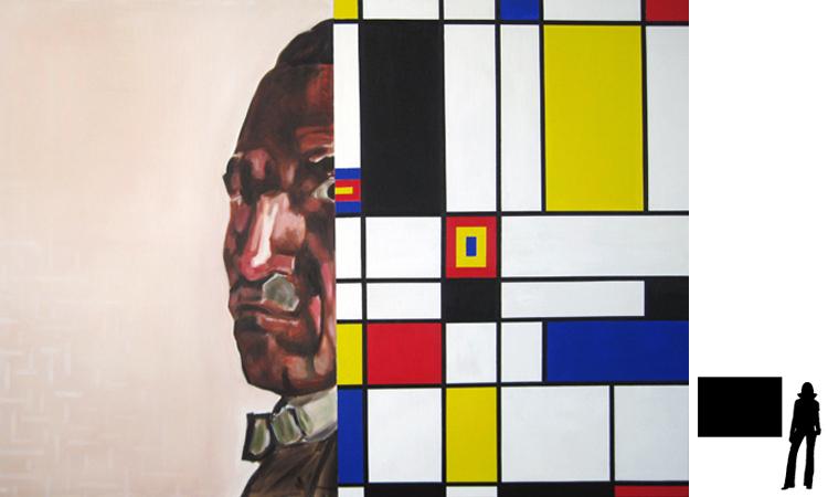 Piet Mondriaan, olie/acryl op katoen, 100 x 140 cm., project zelfportretten beroemde schilders i.s.m. Jack Allick, 1500,-
