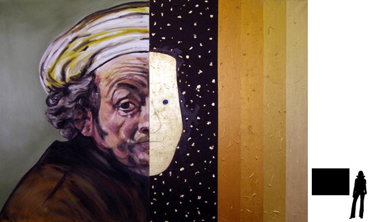 Rembrandt, olie/acryl op katoen, 100 x 140 cm., project zelfportretten beroemde schilders i.s.m. Jack Allick, 1500,-