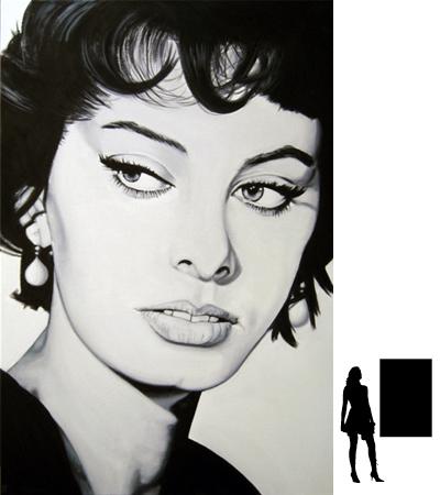 Sofia Loren, olieverf op linnen, 80 x 120 cm., 1000,- incl. lijst