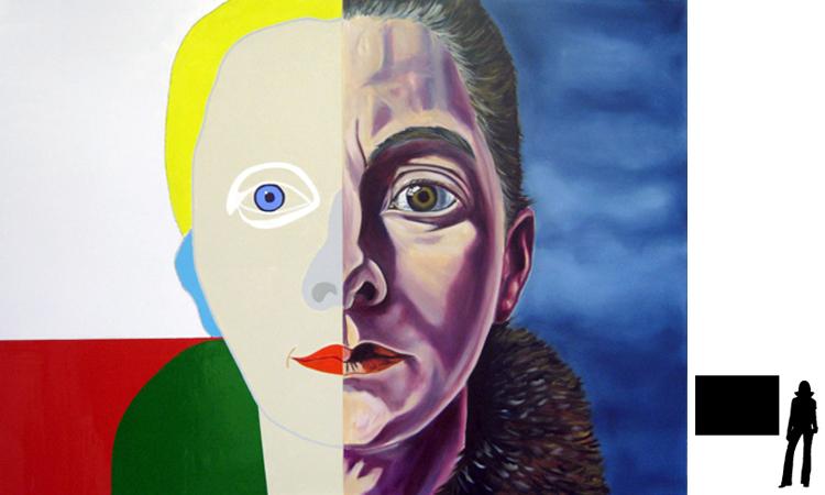 Charlie Toorop, olie/acryl op katoen, 100 x 140 cm., project zelfportretten beroemde schilders i.s.m. Jack Allick