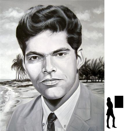 Portret, olieverf op linnen, 40 x 60 cm.