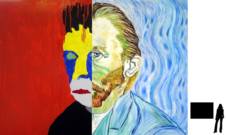 Vincent van Gogh, olie/acryl op katoen, 100 x 140 cm., project zelfportretten beroemde schilders i.s.m. Jack Allick, 1500,-