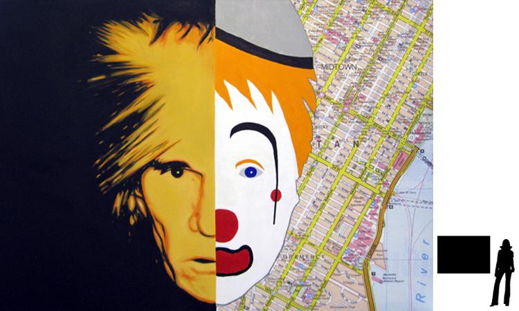 Andy Warhol, olie/acryl op katoen, 100 x 140 cm., project zelfportretten beroemde schilders i.s.m. Jack Allick, 1500,-