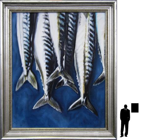 Makrelen, olieverf op linnen, 40 x 50 cm. ex lijst