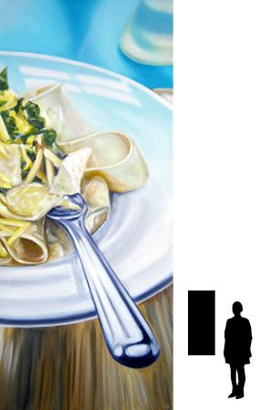 Pasta, olieverf op linnen, 50 x 120 cm.