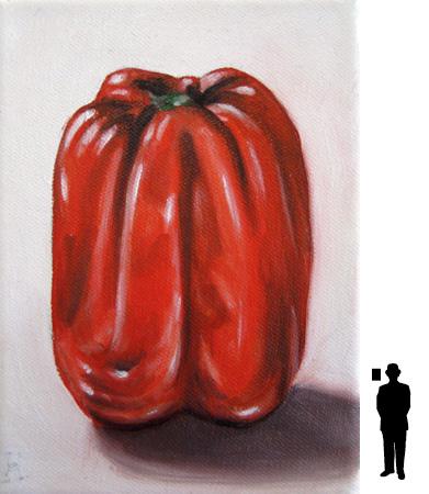 Rood pepertje, olieverf op linnen, 13 x 18 cm., 50,-