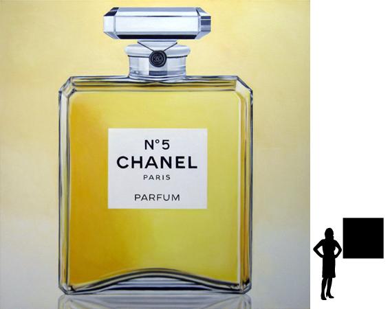 Chanel No. 5, serie klassieke parfums, olieverf op linnen, 100 x 100 cm., 1000,-
