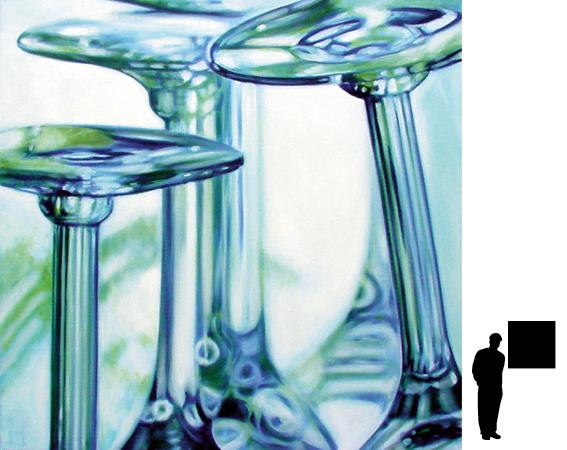 Glazen, olieverf op linnen, 80 x 80 cm.