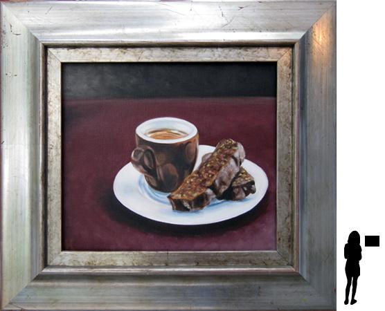 Koffie en koek, olieverf op linnen, 34 x 30 cm. ex lijst, 250,- incl. lijst