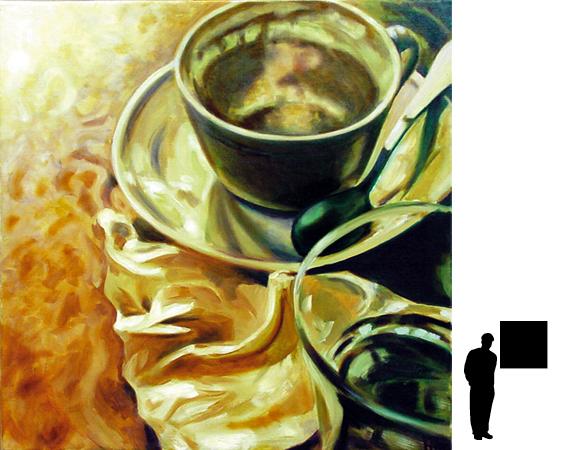 Koffiekopje 1, olieverf op linnen, 80 x 80 cm.