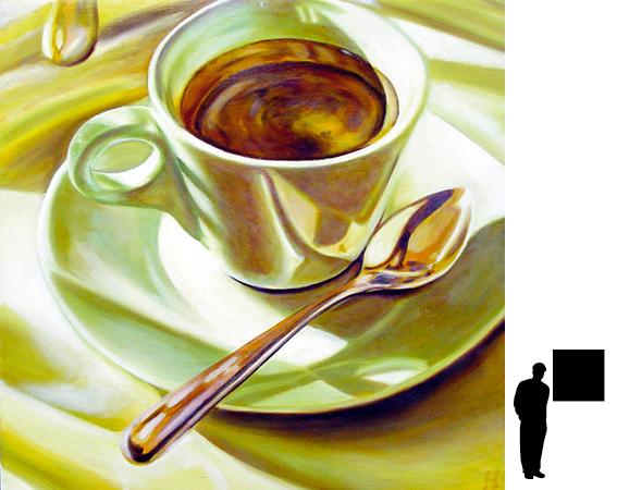 Koffiekopje 2, olieverf op linnen, 80 x 80 cm.