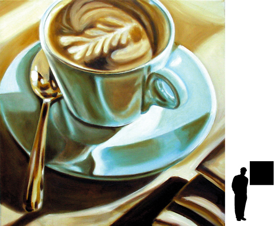 Koffiekopje 3, olieverf op linnen, 80 x 80 cm.