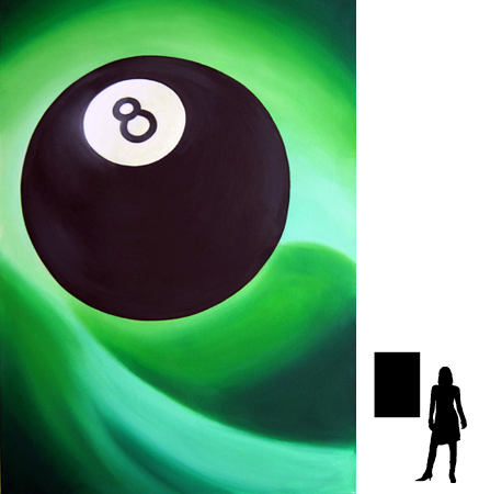 8 ball nr.1, olieverf op linnen, 70 x 100 cm., 600,- incl. lijst