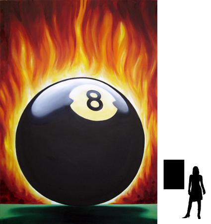 8 ball nr.2, olieverf op linnen, 70 x 100 cm., 600,- incl. lijst