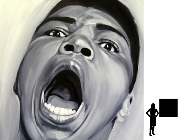 Mohammed Ali (1), olieverf op linnen, 100 x 100 cm., 1000,- incl. lijst