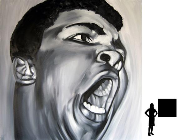 Mohammed Ali (2), olieverf op linnen, 100 x 100 cm., 1000,- incl. lijst