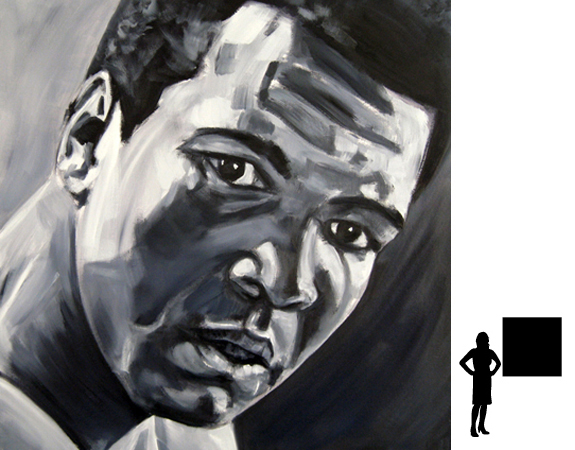Mohammed Ali (3), olieverf op linnen, 100 x 100 cm., 1000,- incl. lijst