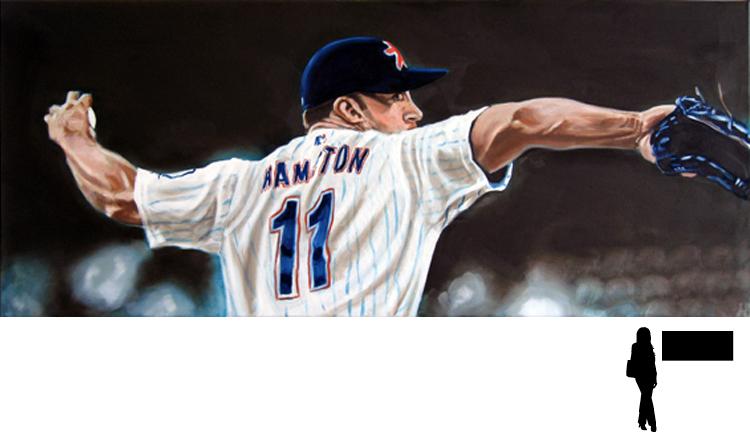 Baseball, Mike Hampton - Houston Astros, olieverf op linnen, 120 x 50 cm., 600,- incl. lijst