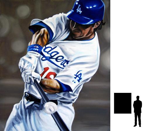 Baseball, André Either - LA Dodgers, olieverf op katoen, 100 x 120 cm., 700,-