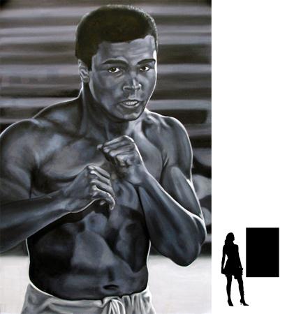 Mohammed Ali (4), olieverf op linnen, 80 x 120 cm., 800,- incl. lijst