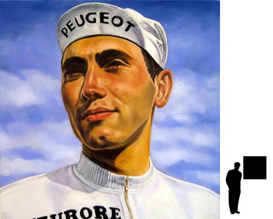 Eddy Merckx, olieverf op linnen, 80 x 80 cm., 800,- incl. lijst