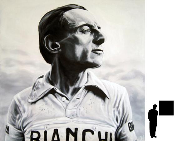 Fausto Coppi, olieverf op linnen, 80 x 80 cm., 800,- incl. lijst