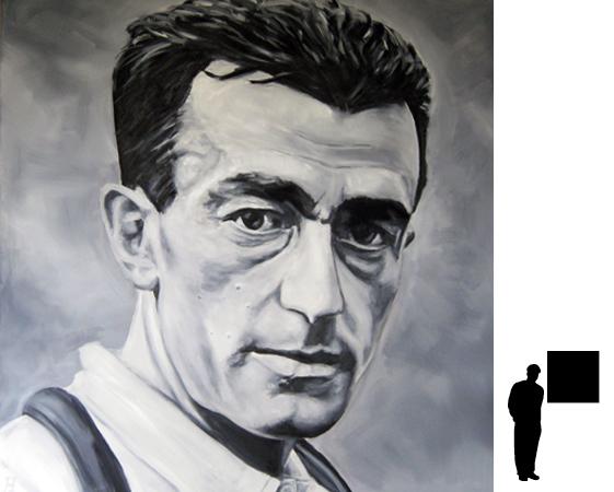 Louison Bobet, olieverf op linnen, 80 x 80 cm., 800,- incl. lijst
