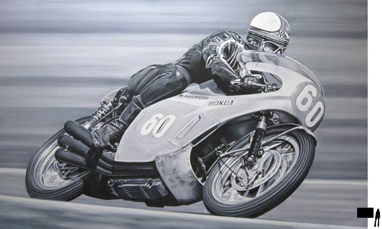 Mike Hailwood, olieverf op linnen, 160 x 100 cm.