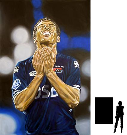 Mounir El Hamdaoui, olieverf op linnen, 100 x 150 cm., 1500,-